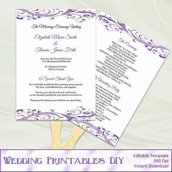 Diy Wedding Fan Template Awesome Items Similar to Purple Wedding Program Fan Template Diy