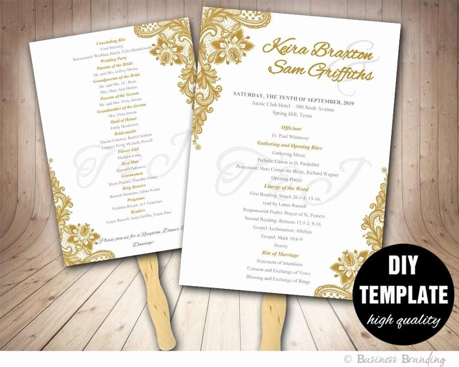 Diy Wedding Fan Template Beautiful Gold Wedding Program Fan Template Diy Instant Download