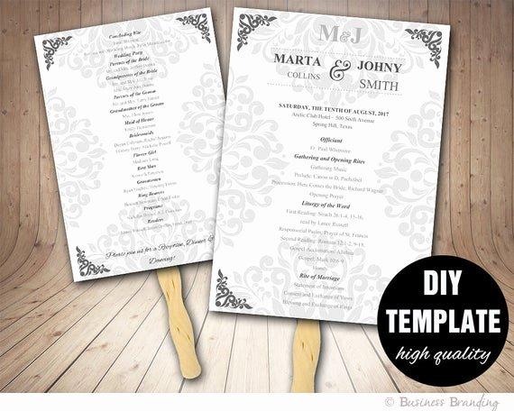 Diy Wedding Fan Template Beautiful Wedding Program Fan Template Diy Instant Download Microsoft