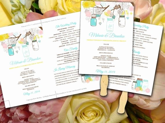 Diy Wedding Fan Template Elegant Diy Wedding Fan Program Template Mason Jar Spring