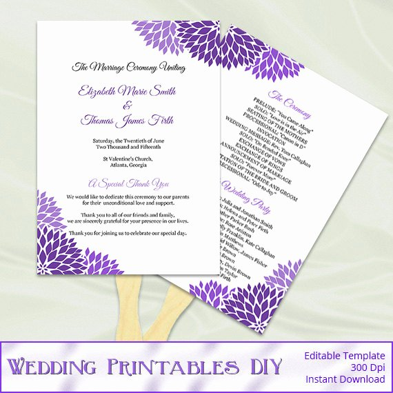 Diy Wedding Fan Template Fresh Wedding Program Fan Template Diy Purple by