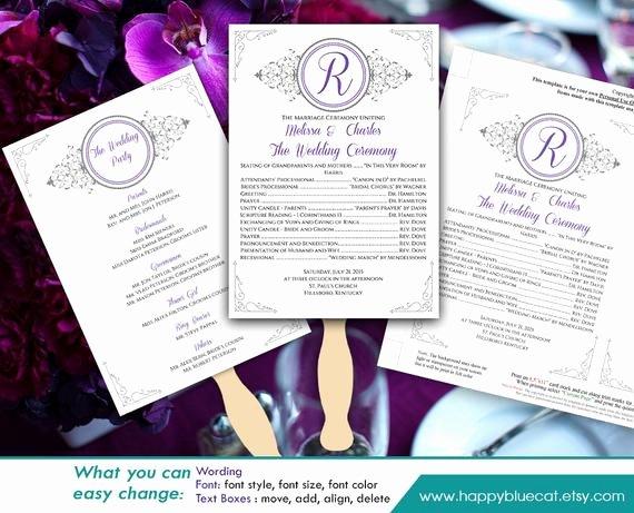 Diy Wedding Fan Template Lovely Diy Printable Wedding Fan Program Template Instant Download