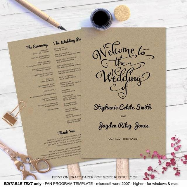 Diy Wedding Fan Template Lovely Modern Rustic Diy Wedding Program Fan Template