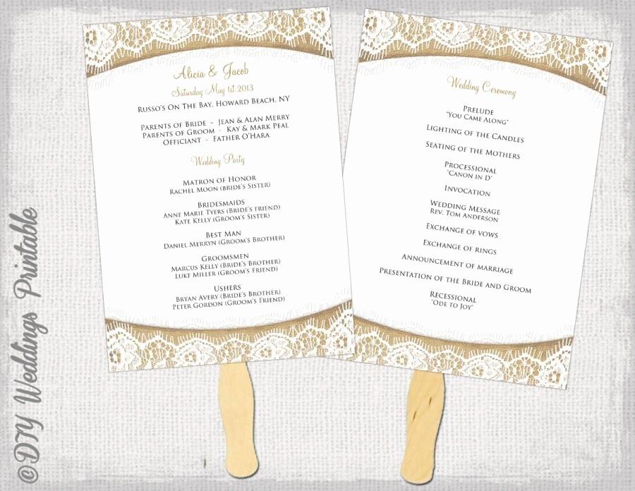 """Diy Wedding Fan Template Luxury Wedding Program Fan Template Rustic """"burlap & Lace"""" Diy"""