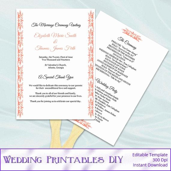 Diy Wedding Fan Template New Items Similar to Coral Wedding Fan Programs Templates