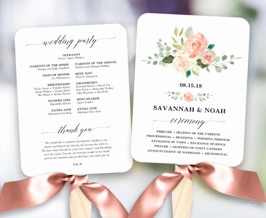Diy Wedding Fan Template Unique Peach Blush Floral Wedding Program Fan Template Printable