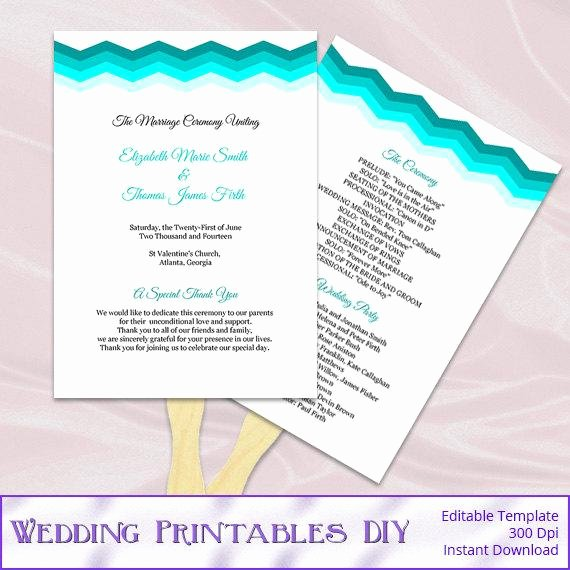 Diy Wedding Program Fan Templates Awesome Teal Wedding Program Fans Template Diy by Weddingprintablesdiy