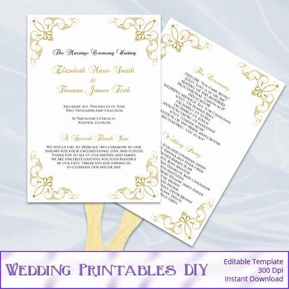 Diy Wedding Program Fan Templates Elegant Gold Wedding Program Fan Template Diy Printable order Of
