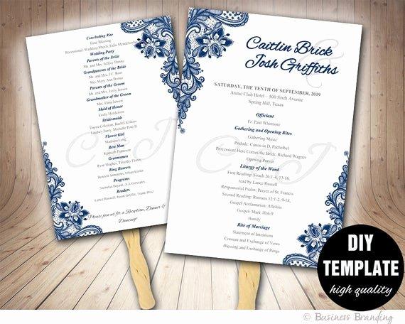 Diy Wedding Program Fan Templates Luxury Blue Wedding Programs Fan Template Diy Instant