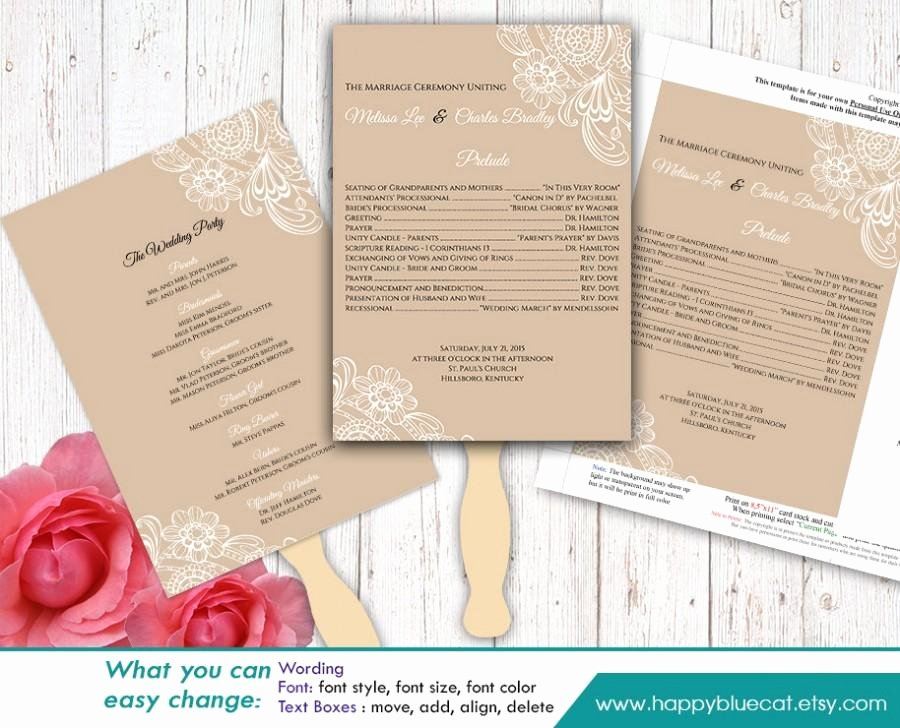 Diy Wedding Program Fan Templates Luxury Diy Printable Wedding Fan Program Template Instant