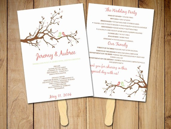 Diy Wedding Program Fan Templates Unique Diy Wedding Program Fan Template Love Bird by