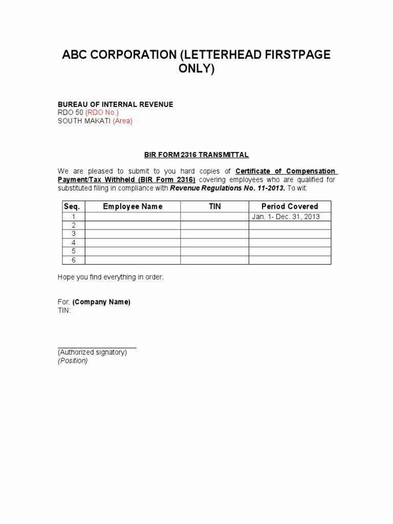 Document Transmittal form Template New Bir form 2316 Transmittal