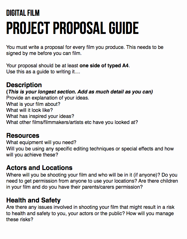 Documentary Proposal Template Awesome Guide for Writing Your Film Proposal © Anna Hawes