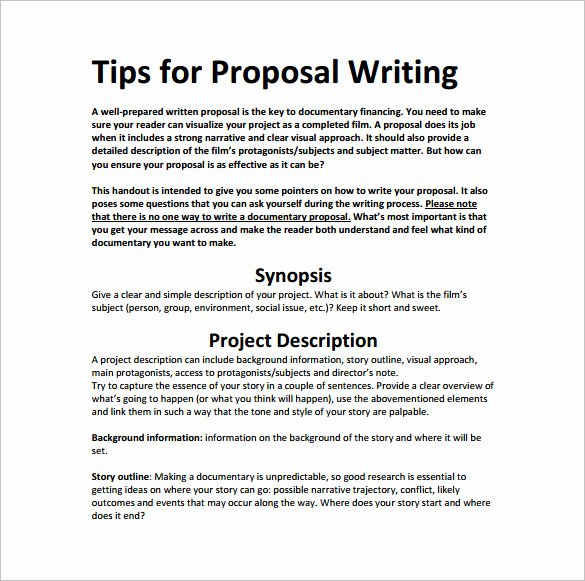 Documentary Proposal Template Fresh Writing Proposal Template 19 Free Word Excel Pdf