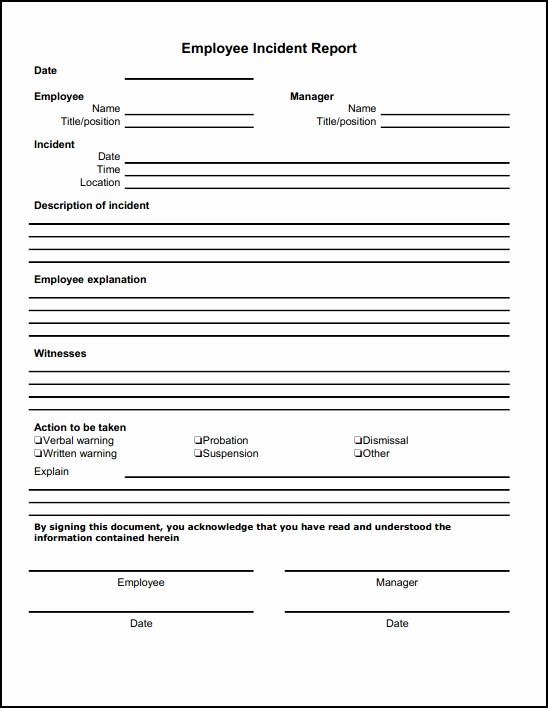 Documenting Employee Behavior Template Fresh 13 Incident Report Templates Excel Pdf formats