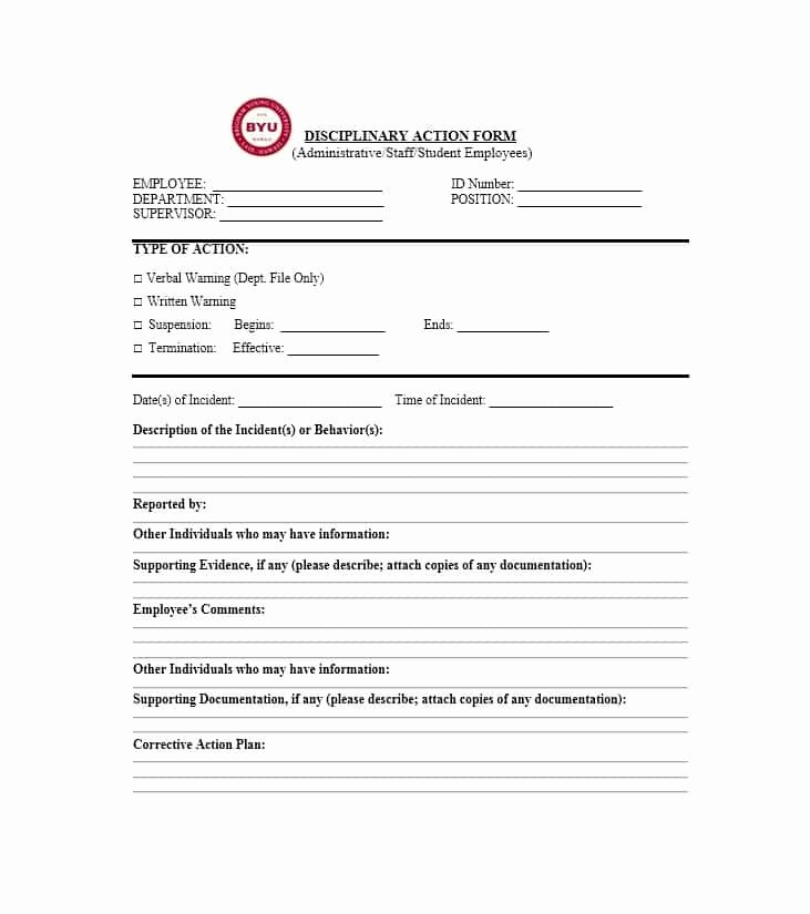Documenting Employee Behavior Template Fresh 40 Employee Disciplinary Action forms Template Lab