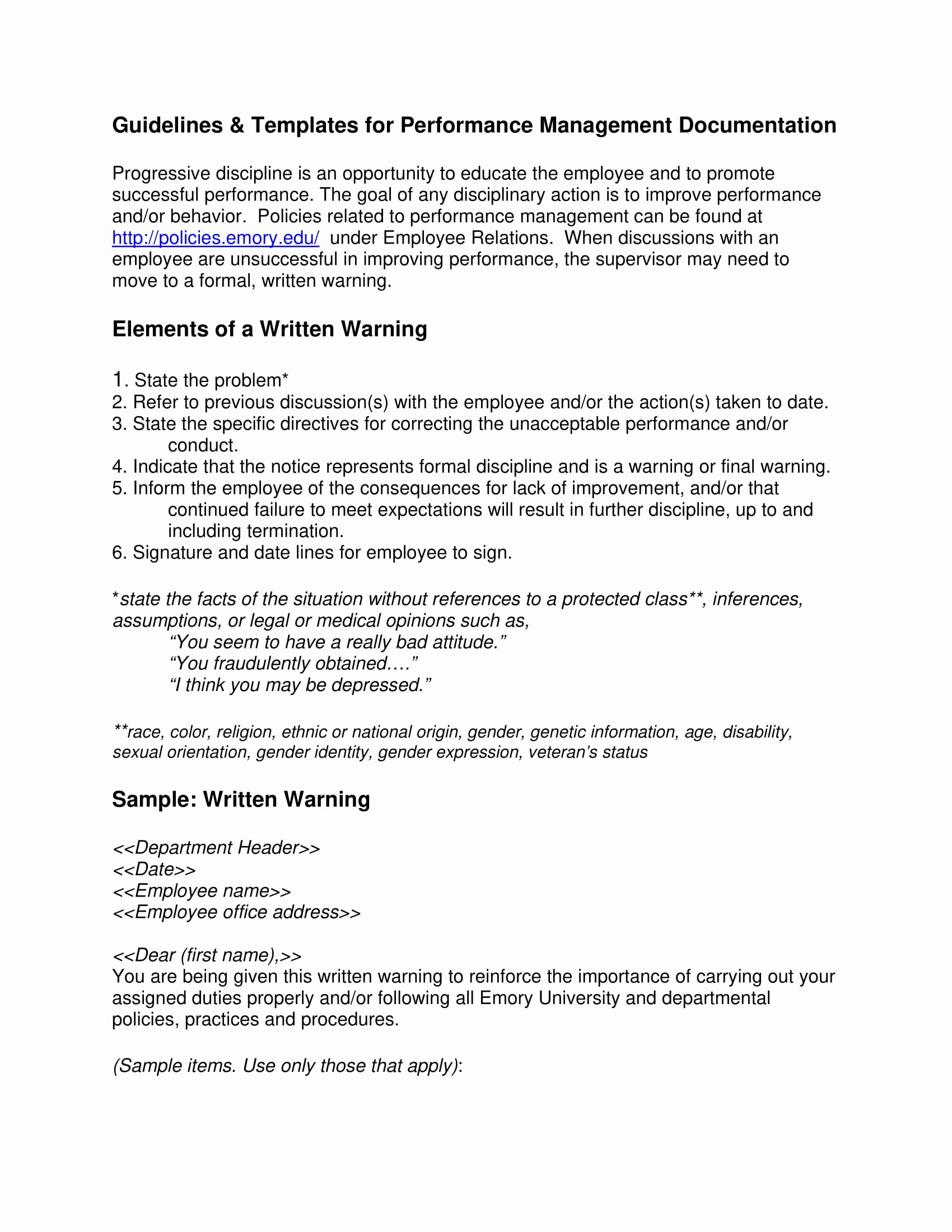 Documenting Employee Behavior Template Luxury 9 Employee Warning Letter Examples Pdf Word