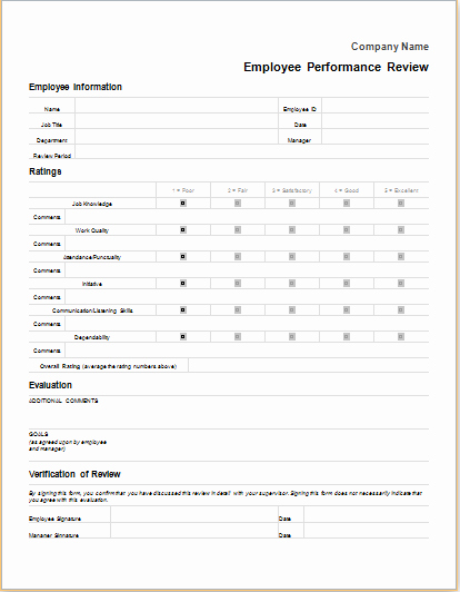 Documenting Employee Performance Template Beautiful Employee Performance Review form for Word