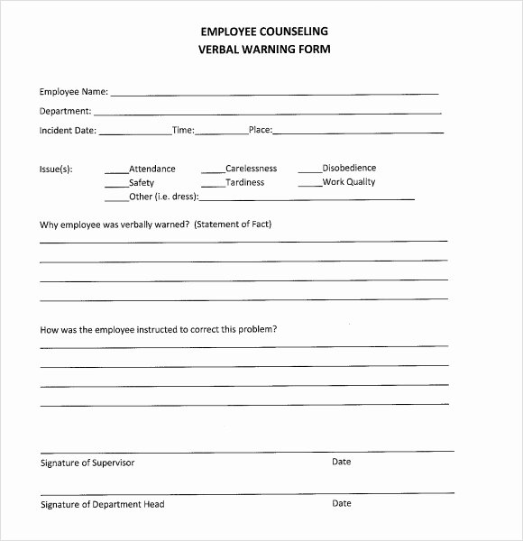Documenting Employee Performance Template Inspirational 10 Verbal Warning Templates Pdf Word Apple Pages