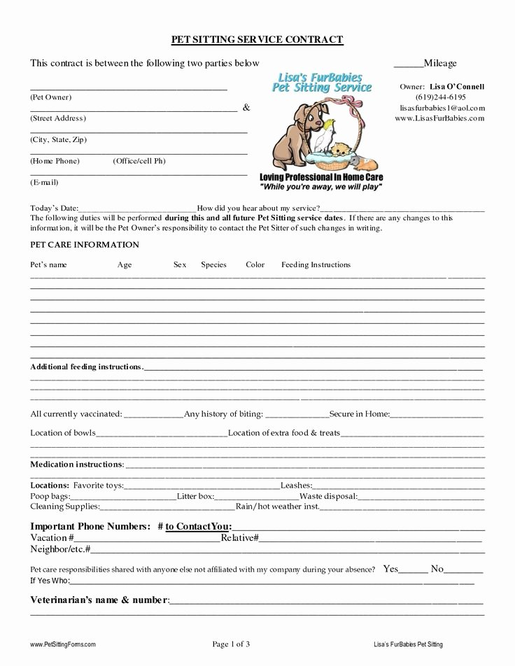 Dog Boarding Report Card Template Fresh Pet Sitting Contract Templates Dogs