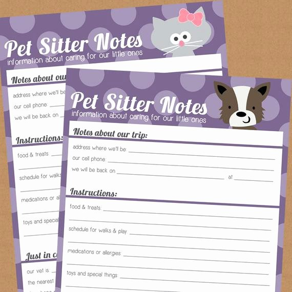 Dog Boarding Report Card Template New Items Similar to Pet Sitter Notes Printable S