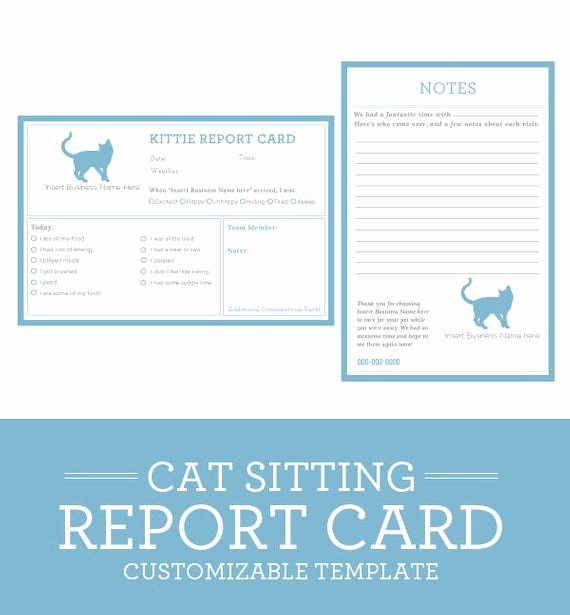Dog Boarding Report Card Template Unique Cat Sitting Report Card Template by Petbusinesstemplates