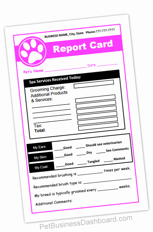 Dog Boarding Report Card Template Unique Report Cards