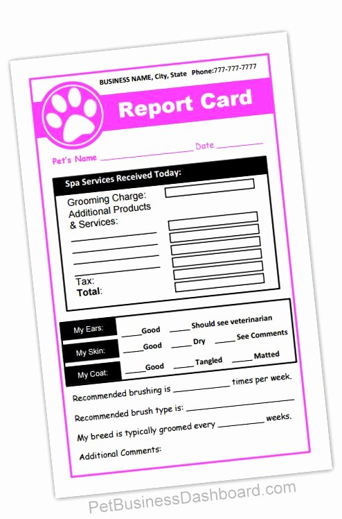 Dog Daycare Report Card New Grooming Receipt & Report Cards In 1 Printable and