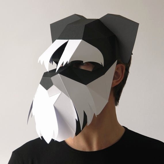 Dog Face Template Elegant Dog Mask Build Your Own Schnauzer 3d Dog Mask From Card