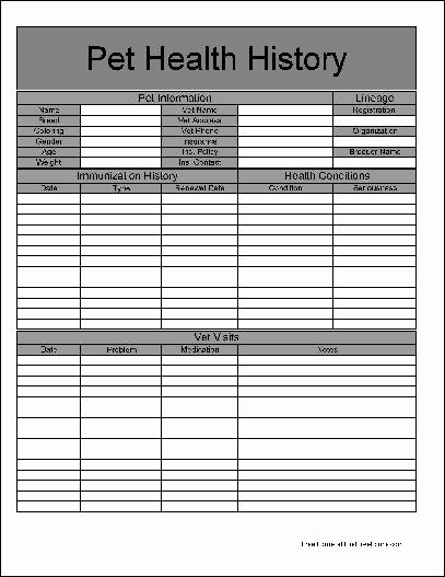 Dog Health Record Template Awesome Free Basic Pet Health History