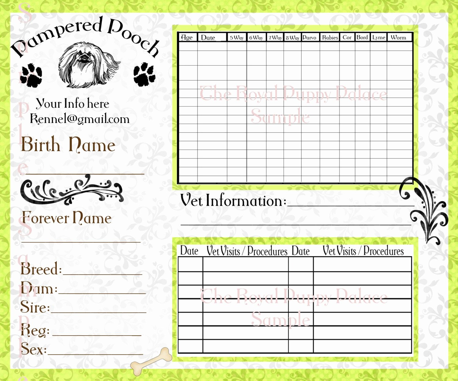 Dog Health Record Template New Pampered Pooch Green Customizable Vaccination Cards for Dog