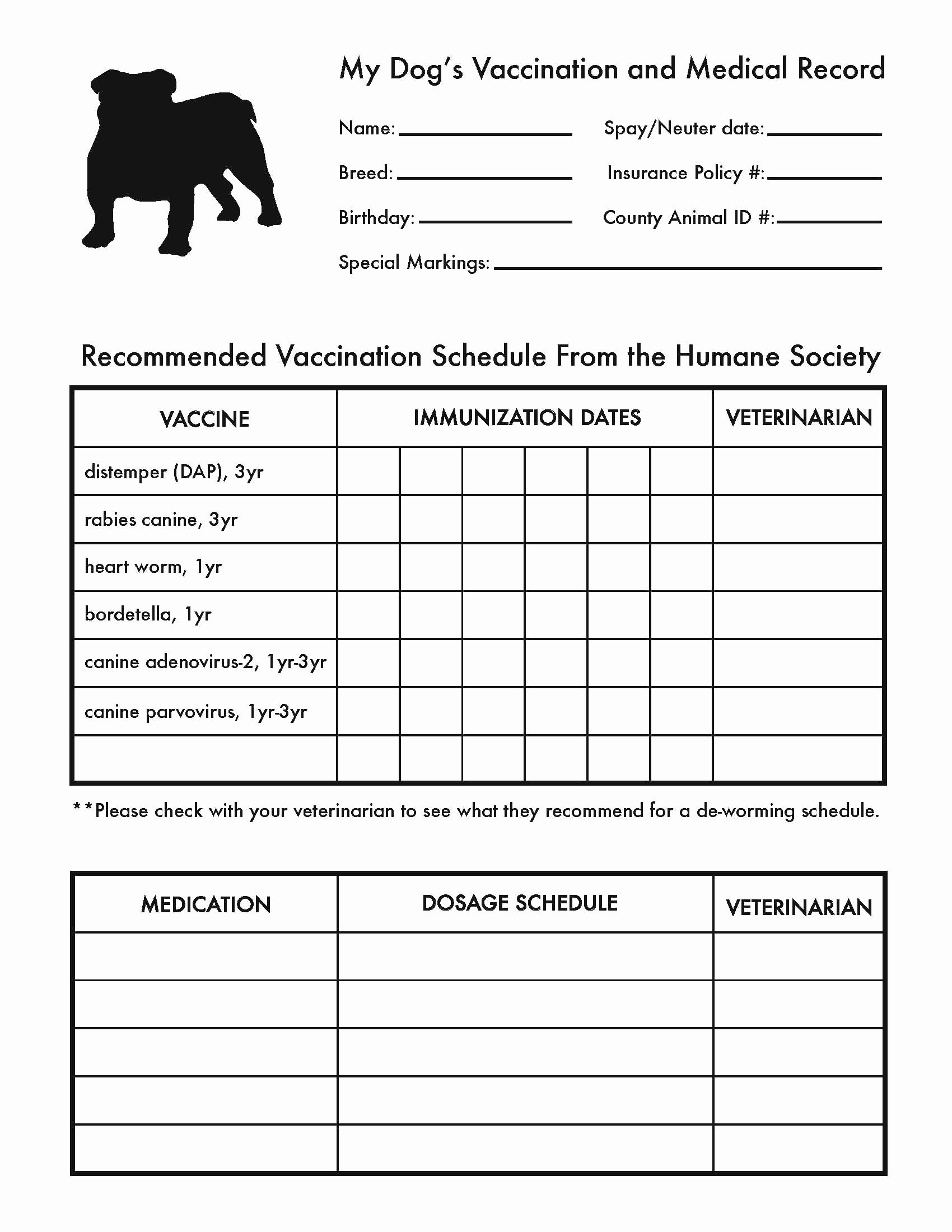 Dog Shot Record Template Best Of Printable Dog Shot Record forms Dog Shot Record