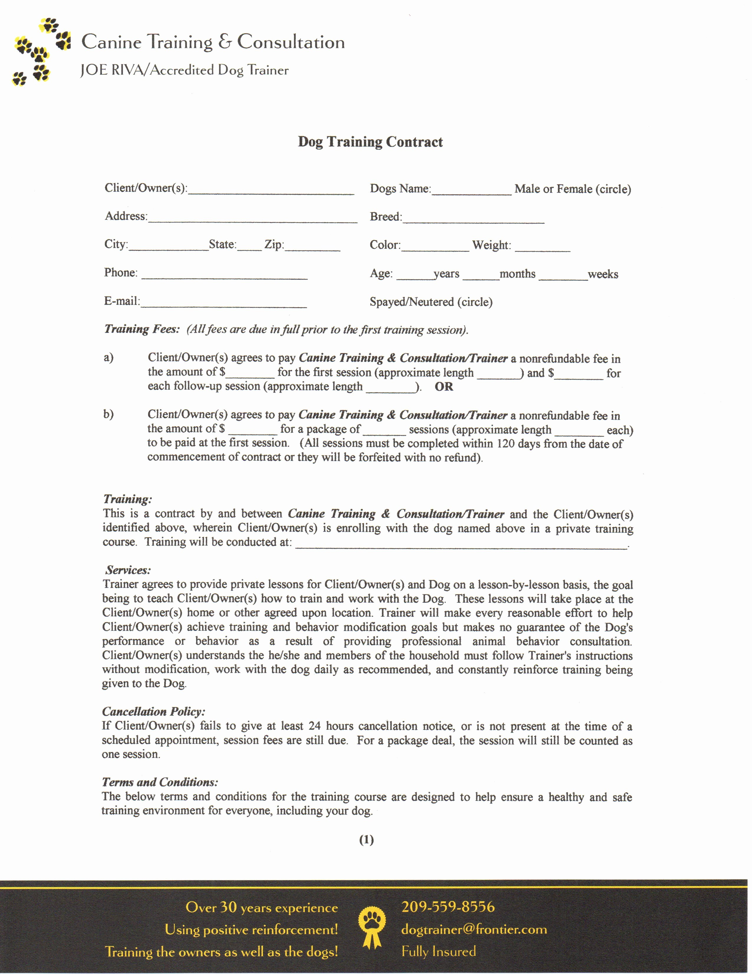 Dog Training Contract Template Elegant Contract