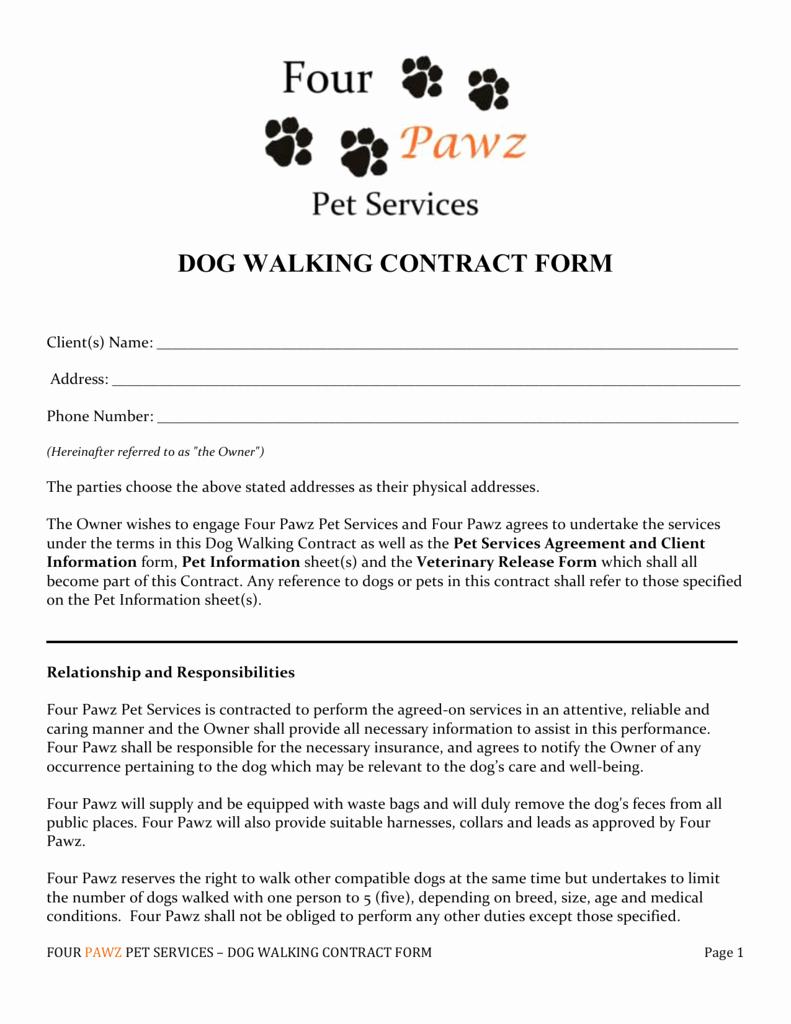 Dog Training Contract Template Elegant Dog Walking form Papel Lenguasalacarta