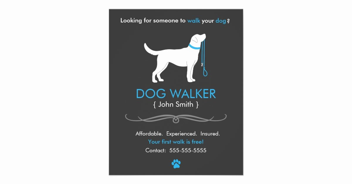 Dog Walking Flyer Ideas Awesome Dog Walker Walking Business Flyer Template Small