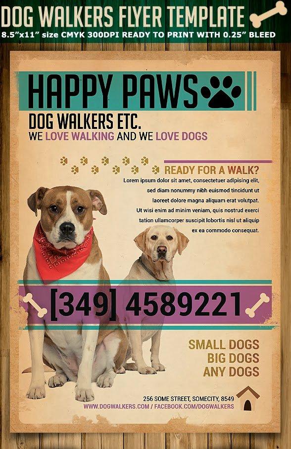 Dog Walking Flyer Ideas Unique Dog Walkers Flyer Template
