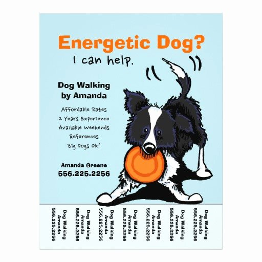 Dog Walking Flyer Template Awesome Dog Walker Walking Personalized Tear Sheet Custom Flyer