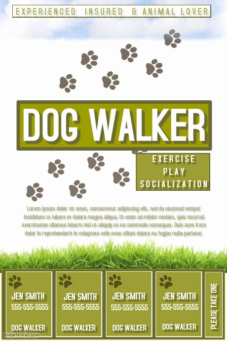 Dog Walking Flyer Template Elegant Dog Walker Template