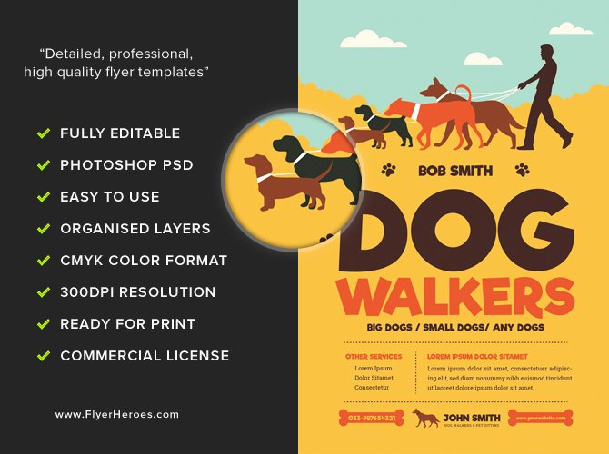 Dog Walking Flyer Template Elegant Dog Walkers Flyer Template Flyerheroes