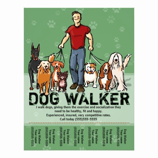 Dog Walking Flyer Template Luxury Dog Walker Dog Walking Guy Grn Promotemplate Flyer