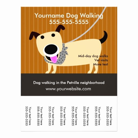 Dog Walking Flyer Template Luxury Dog Walker S Flyer with Tear Off Tags