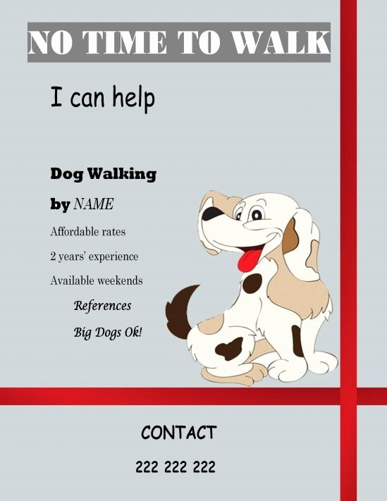 Dog Walking Flyer Template Luxury Free Templates Dog Walking