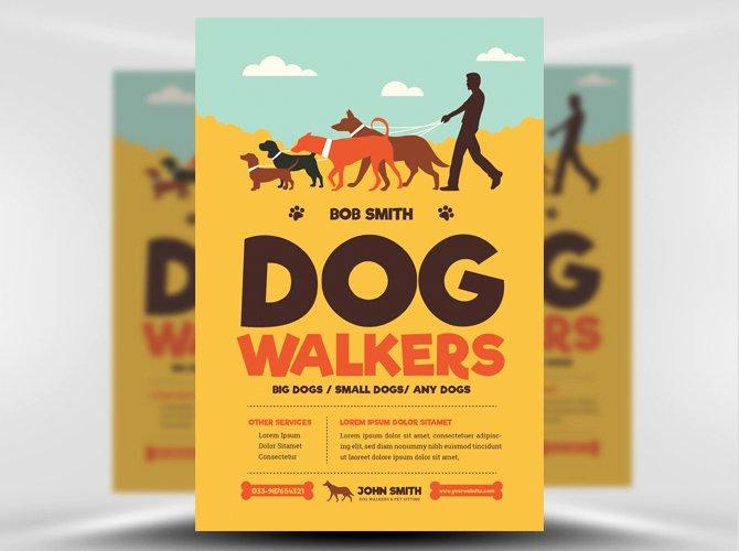 Dog Walking Flyer Template New Dog Walkers Flyer Template Flyerheroes