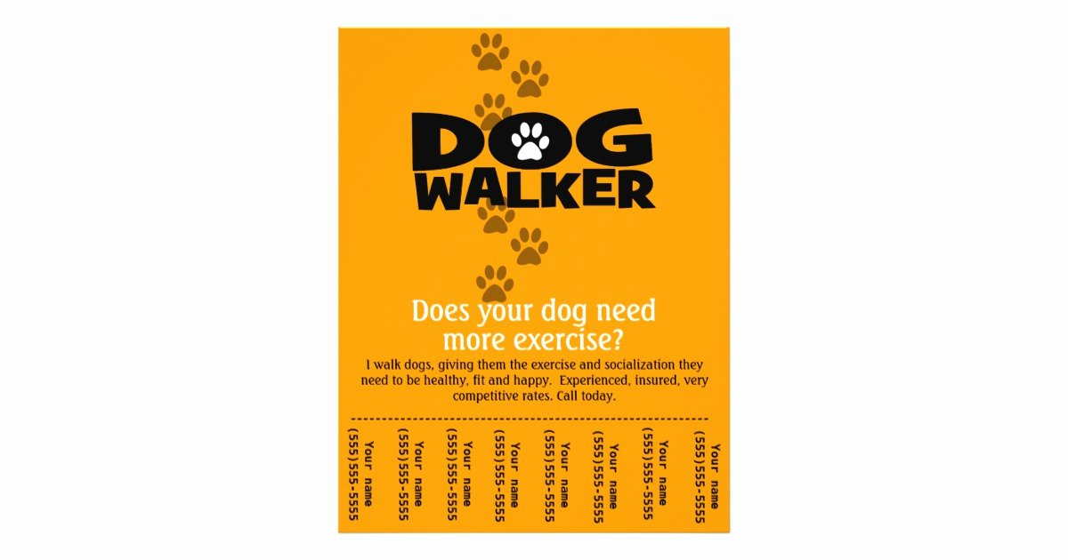 Dog Walking Flyer Template Unique Free Dog Walking Flyer Template