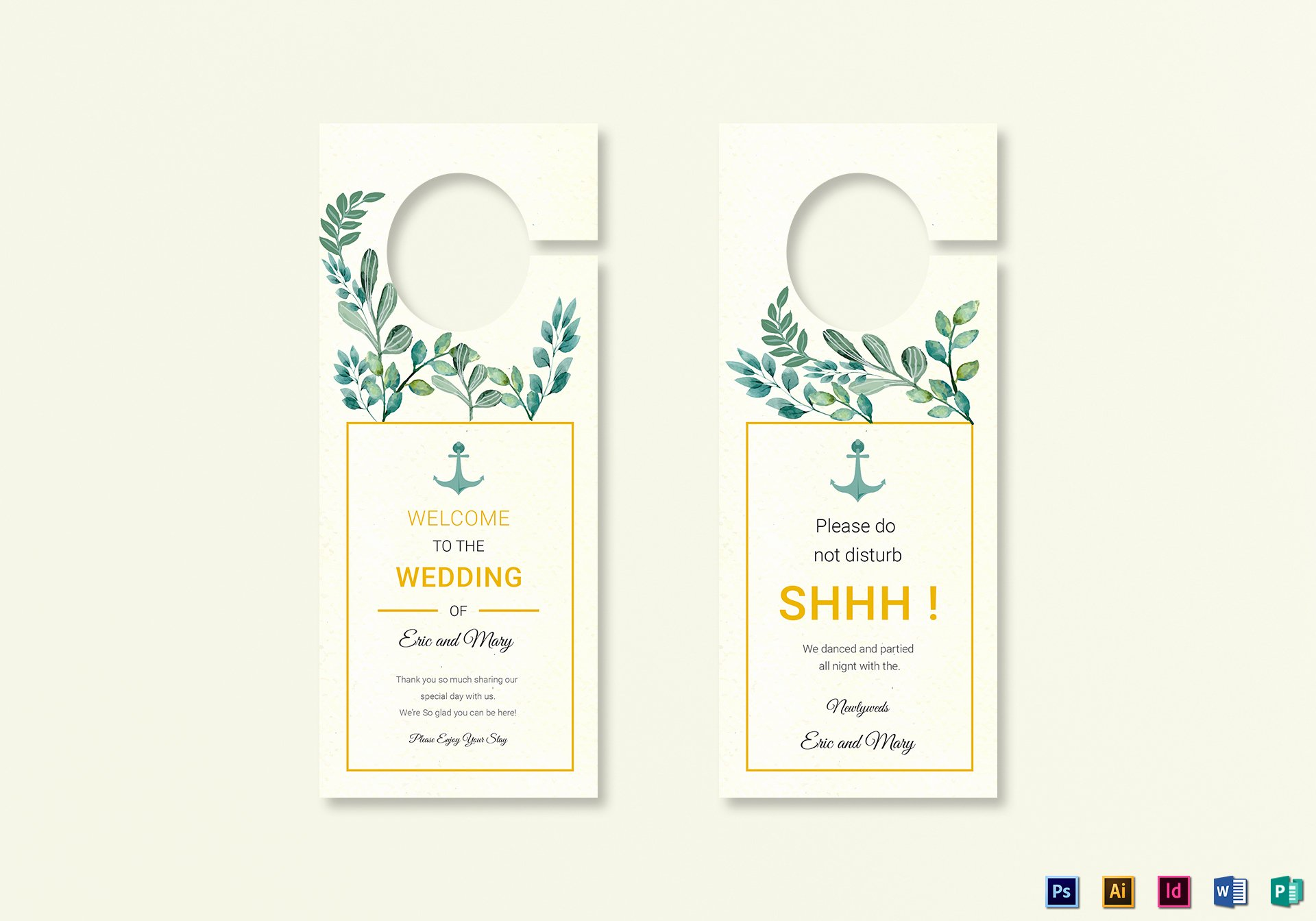 Door Hanger Template Illustrator Beautiful Nautical Wedding Door Hanger Template In Psd Word