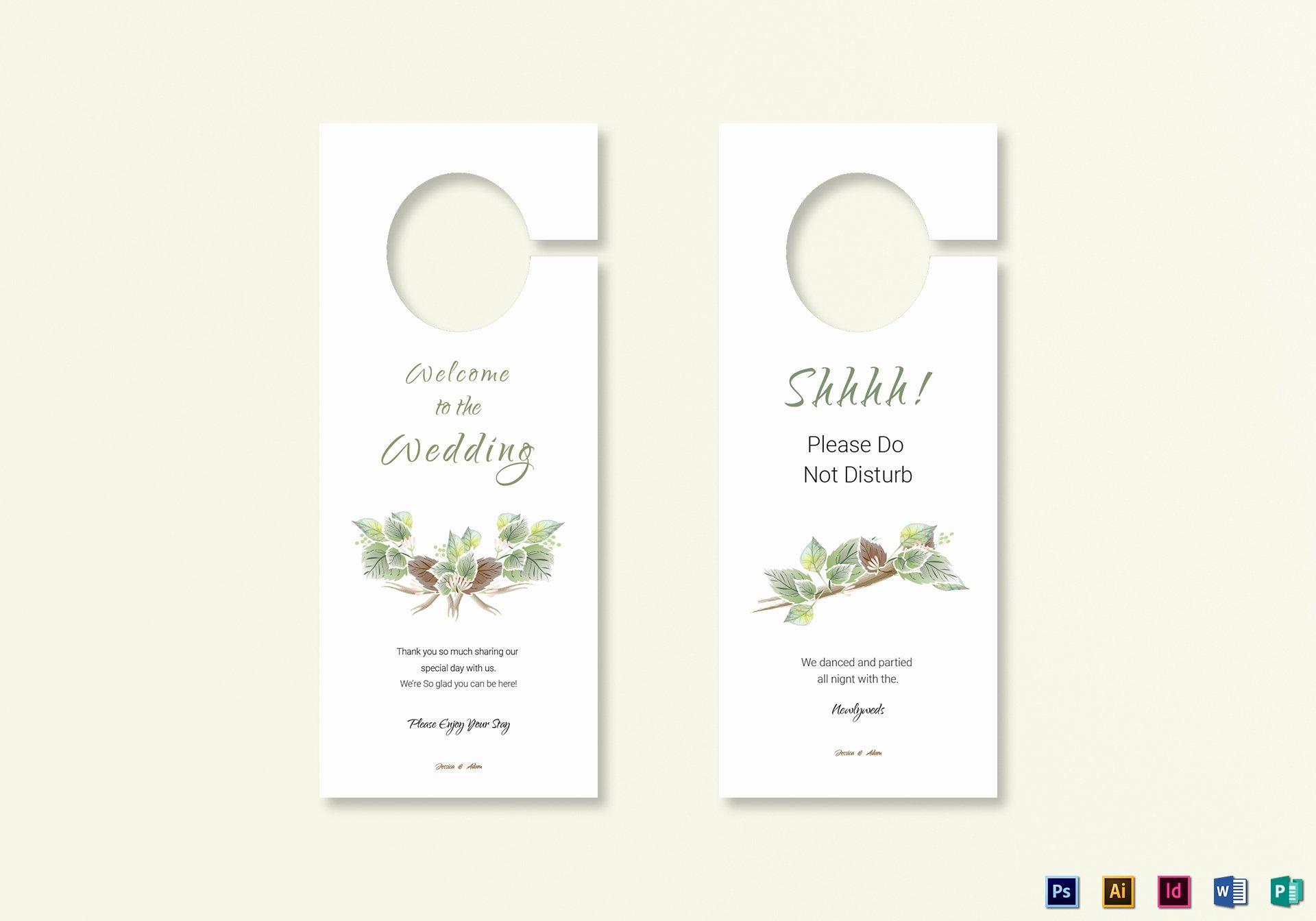 Door Hanger Template Publisher Beautiful Fall Wedding Door Hanger Template In Psd Word Publisher