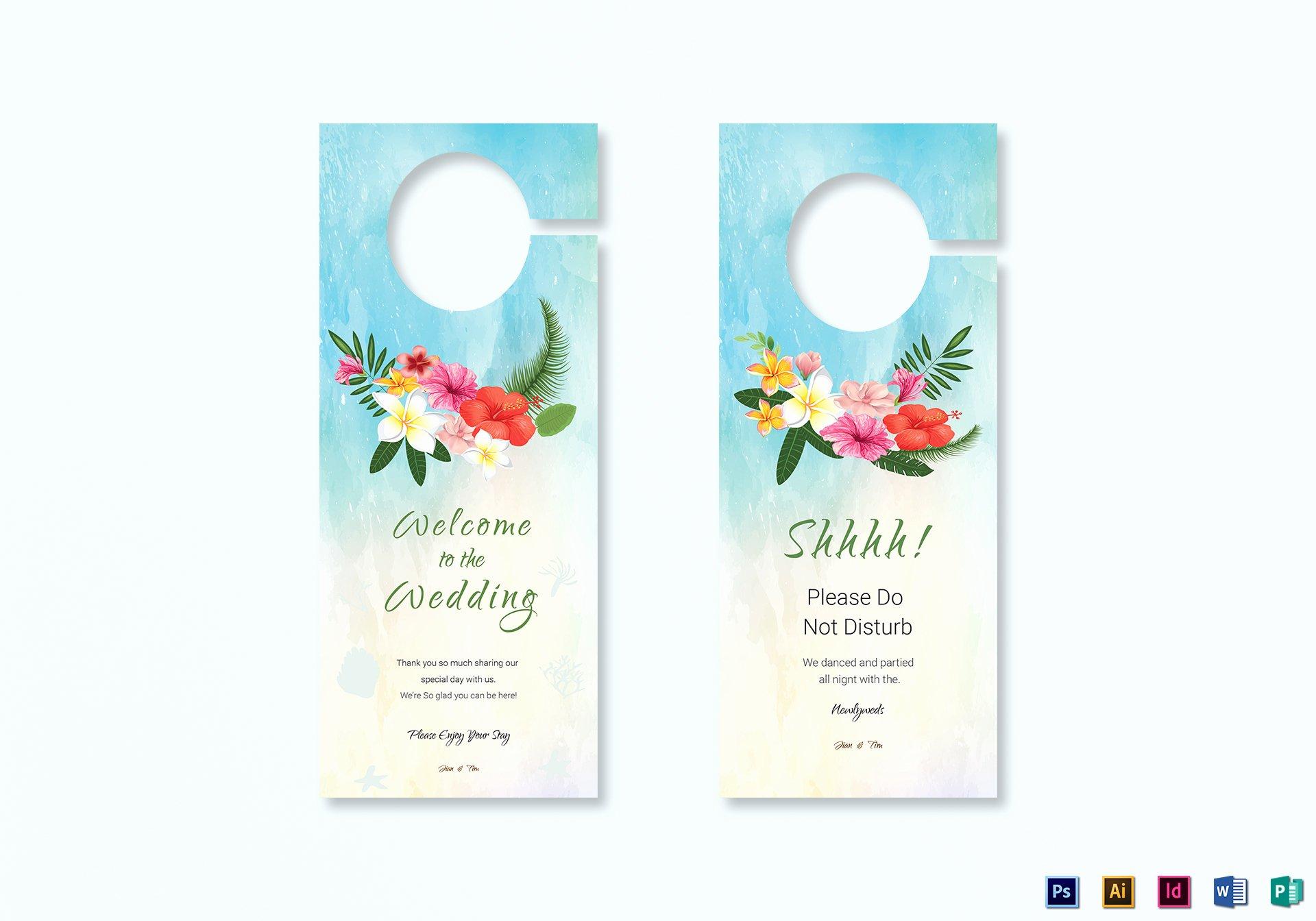 Door Hanger Template Publisher Elegant Beach Wedding Door Hanger Template In Psd Word Publisher