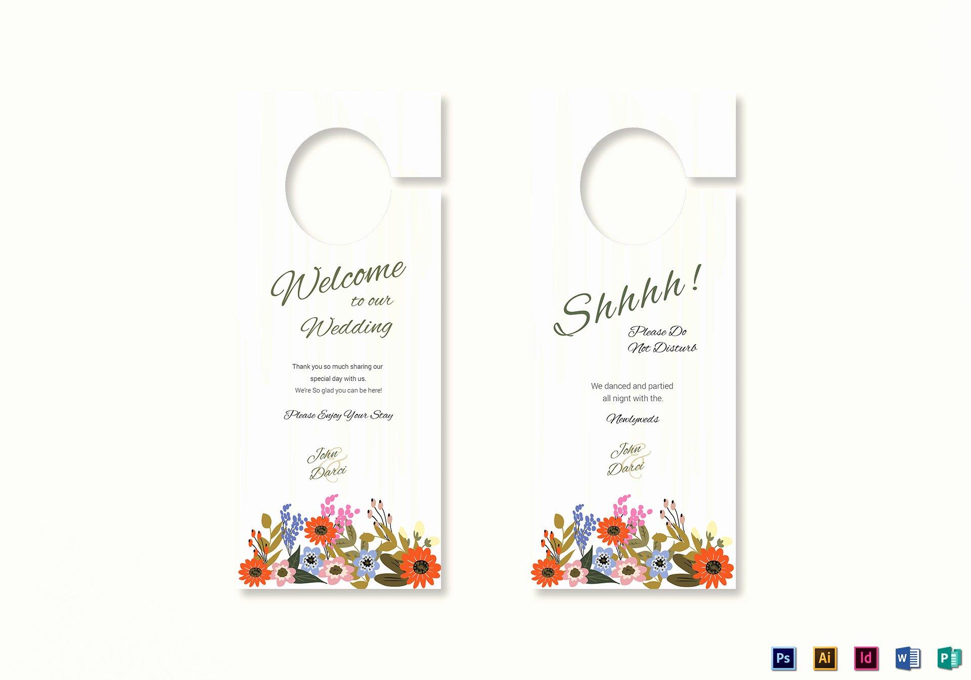 Door Hanger Template Publisher Elegant Summer Floral Wedding Door Hanger Card Design Template In