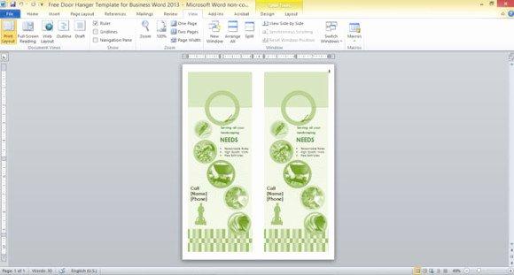 Door Hanger Template Publisher Fresh Free Door Hanger Template for Business Word 2013