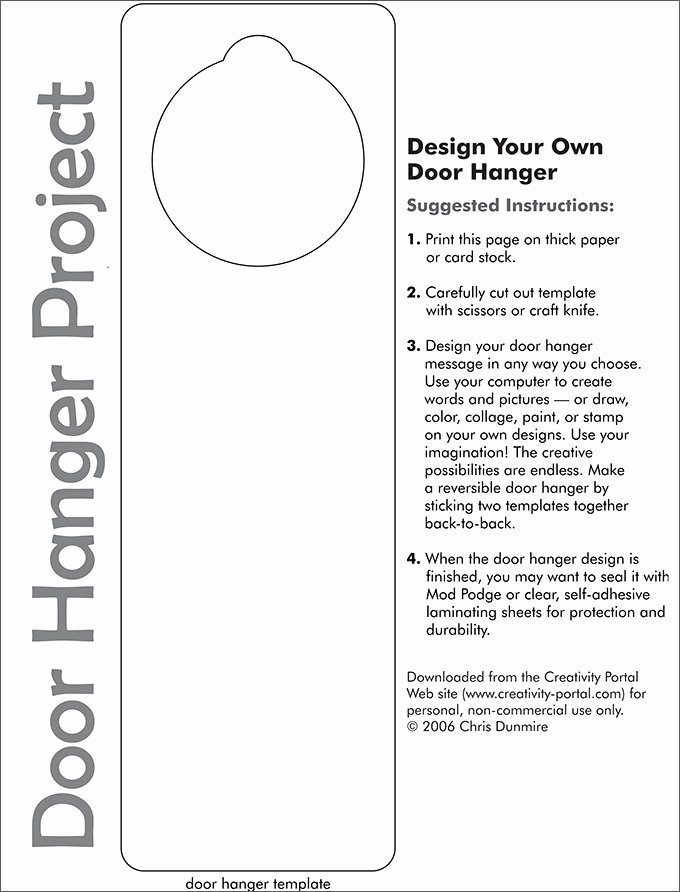 Door Knob Hanger Template Unique Door Hanger Template